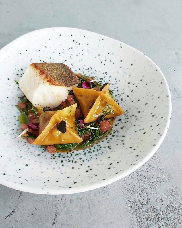 Roast Cod loin Shrimp%2C fennel &l emon Fagottini Tomato%2CSamphire Shellfish bisque Black garlic by Onik Minasian