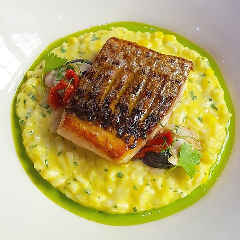 Sea bass%2C corn and mascarpone risotto%2C clams and roasted peppers by Oli Harding
