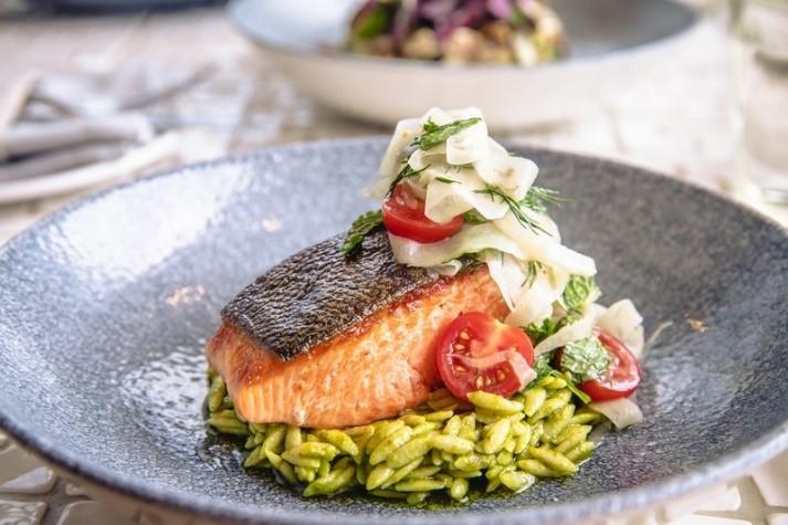 Summer freshness at kost TORONTO%2C Ora king salmon%2C basil orzo%2C fennel%2Ctomato and olive salad