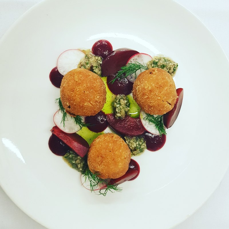 chefs to follow on Instagram, food pics, social media, The Staff Canteen, Instagram Top Ten Smoked duck bon bons, plum and juniper ketchup, pickled plums, walnuts and parsley