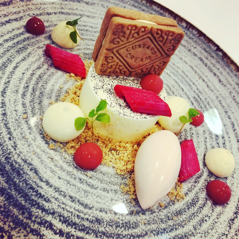 chefs to follow on Instagram, food pics, social media, The Staff Canteen, Instagram Top Ten 8. Rhubarb and custard, Madagascan vanilla panna cotta with grenadine poached rhubarb ice cream and homemade custard creams