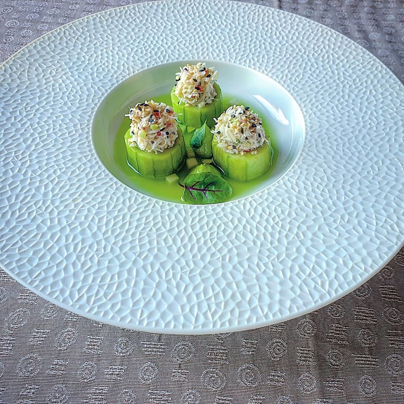 https://www.thestaffcanteen.com/public/js/tinymce/plugins/moxiemanager/data/files/00 Insta Top Ten March 2019/march /Sesame and ginger crab salad. Marinated cucumber%2C avocado and wasabi puree%2C chilled apple%2C cucumber and ginger broth by Simon Higgins.jpeg