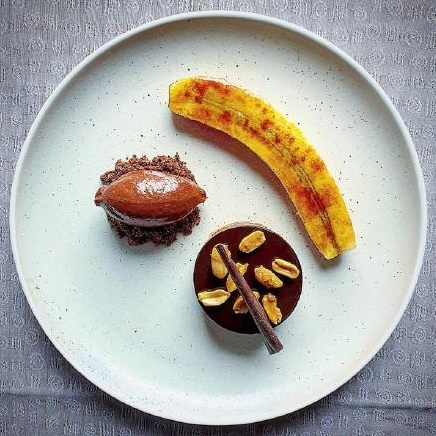 Chocolate and salted peanut mousse. by Simon Higgins