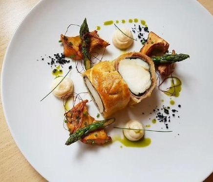 Monkfish tail marinated with thyme in puff pastry%2C prosciutto and spinach by sasa vojnovic
