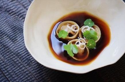 Smoked aubergine dashi%2C masterstock slow braised lamb shoulder dumplings by Piers Dawson