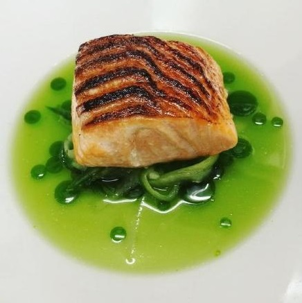 3 Glazed Loch Etive Trout%2C Cucumber and Dill Salad%2C Cucumber Water by Rory Lovie