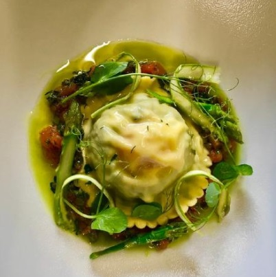 5 Nettle and egg ravioli with Asparagus and Vegetable Nage By Michael Penaluna