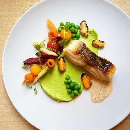 6 Thyme butter seared dentex%2C pea puree%2C poached carrot%2C roasted beetroot%2C blistered tomatoes%2C garlic red wine mussels by Sasa Vojnovic