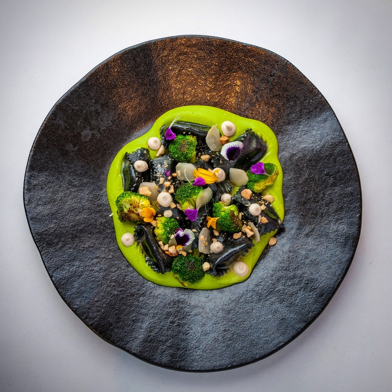 Throwback - Squid ink agnolotti, ricotta, broccoli crema, charred broccoli and pickled broccoli by chef Morgan Bellis, chefs to follow on Instagram, food pics, social media, The Staff Canteen, Instagram Top Ten