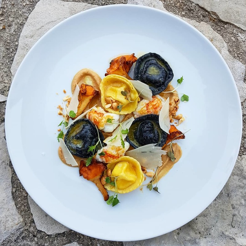 Brown butter, halibut tortellini, seared langoustine, mushrooms, hazelnut puree, chanterelles and parmigiano reggiano by chef Sasa Vojnovic, chefs to follow on Instagram, food pics, social media, The Staff Canteen, Instagram Top Ten
