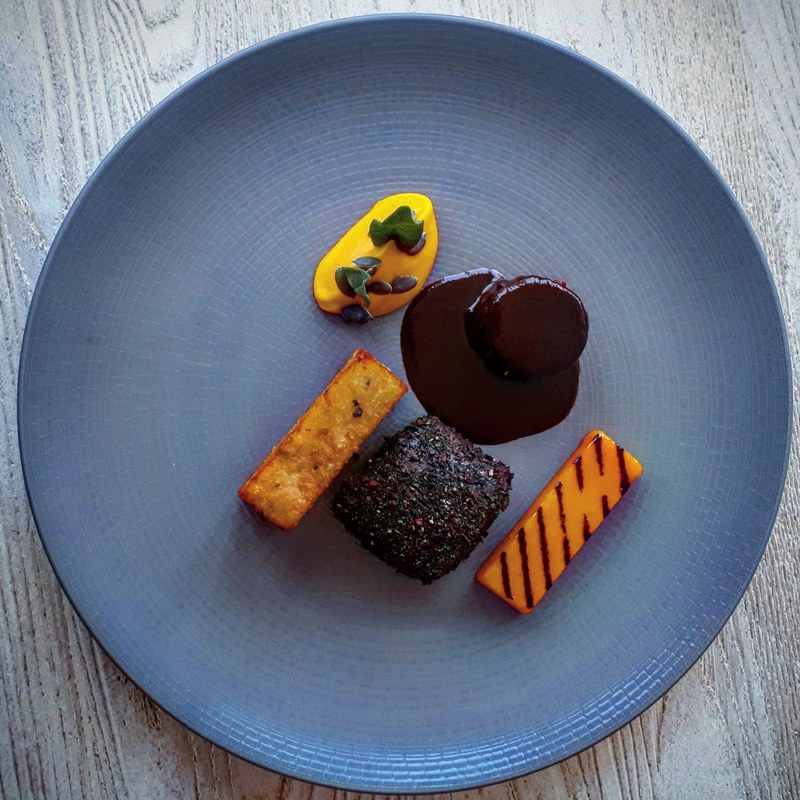 Wicklow venison loin, cocoa nib crust, braised shoulder, potato hash, pumpkin and sage, chocolate gravyby chef Alan Higgins, chefs to follow on Instagram, food pics, social media, The Staff Canteen, Instagram Top Ten