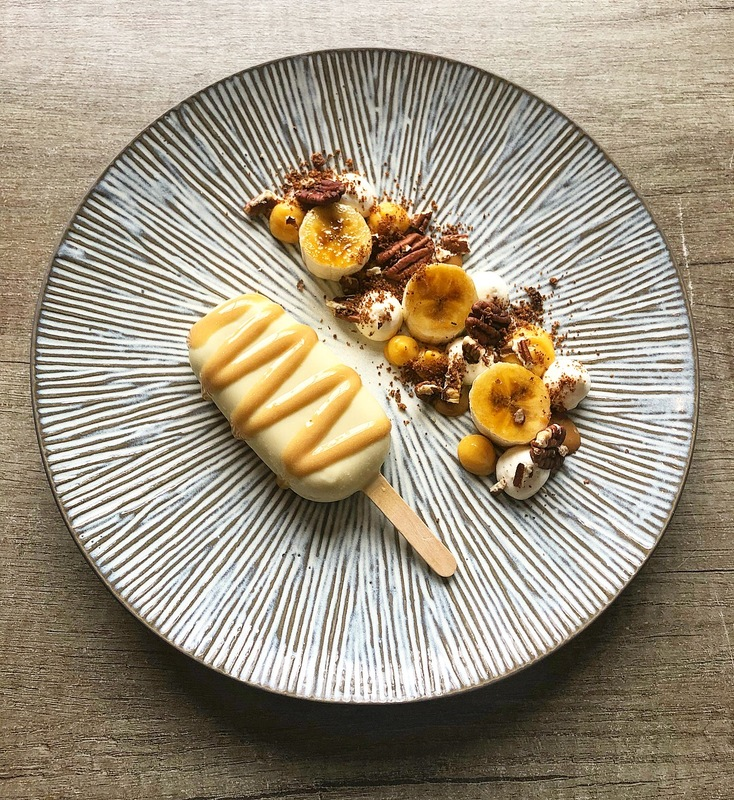 'Homemade Banoffee Magnum' glazed bananas, banoffee caramel, pecan's and vanilla cream by chef Scott Judson, chefs to follow on Instagram, food pics, social media, The Staff Canteen, Instagram Top Ten