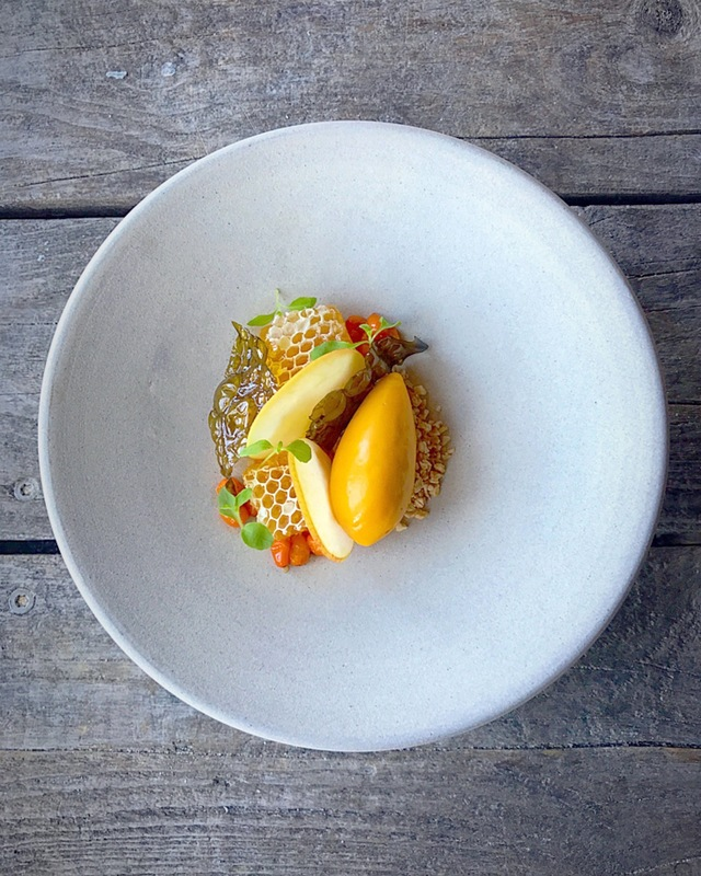 Honeycomb, sea buckthorn, candied seaweed, hazelnutby chef Richard Karlsson, chefs to follow on Instagram, food pics, social media, The Staff Canteen, Instagram Top Ten