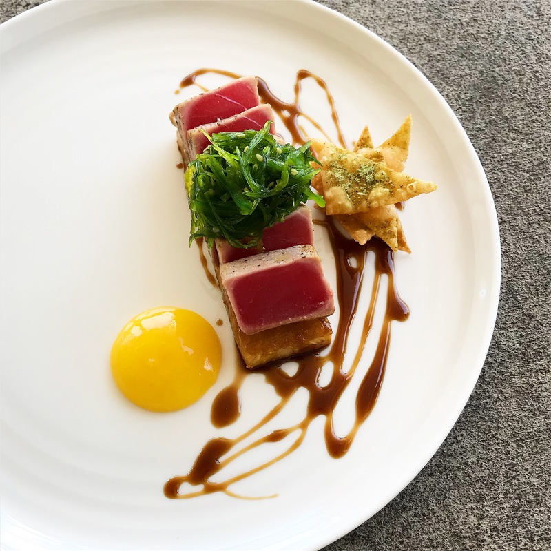 Ahi, soy and brown sugar reduction, peach purée, wasabi and matcha wontonby chef Ryne Harwick, chefs to follow on Instagram, food pics, social media, The Staff Canteen, Instagram Top Ten