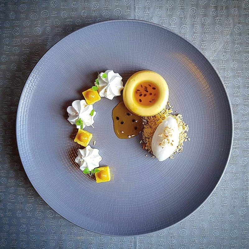Mango bavarois, coconut meringue, passion fruit syrup, toasted coconut sorbet by chef Simon Higgins, chefs to follow on Instagram, food pics, social media, The Staff Canteen, Instagram Top Ten