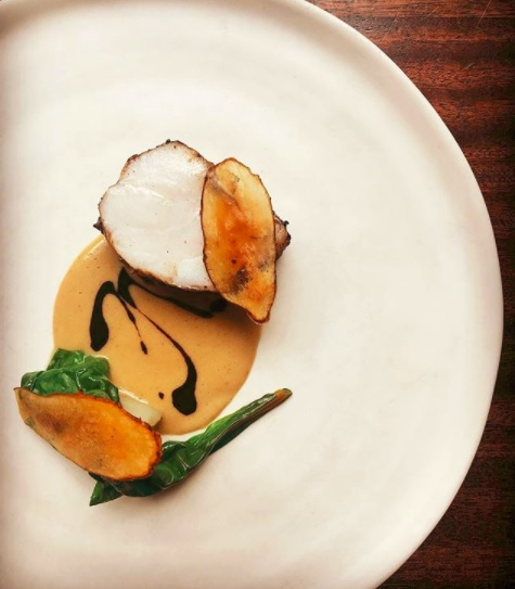 Monkfish cooked in Malted Barley Oil & Jerusalem Artichoke