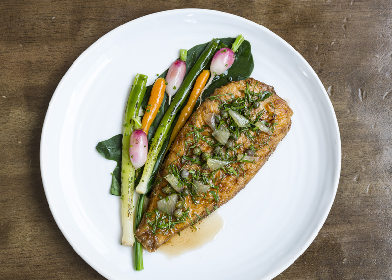 Whole lemon sole with spring vegetables%2C capers and brown butter low res