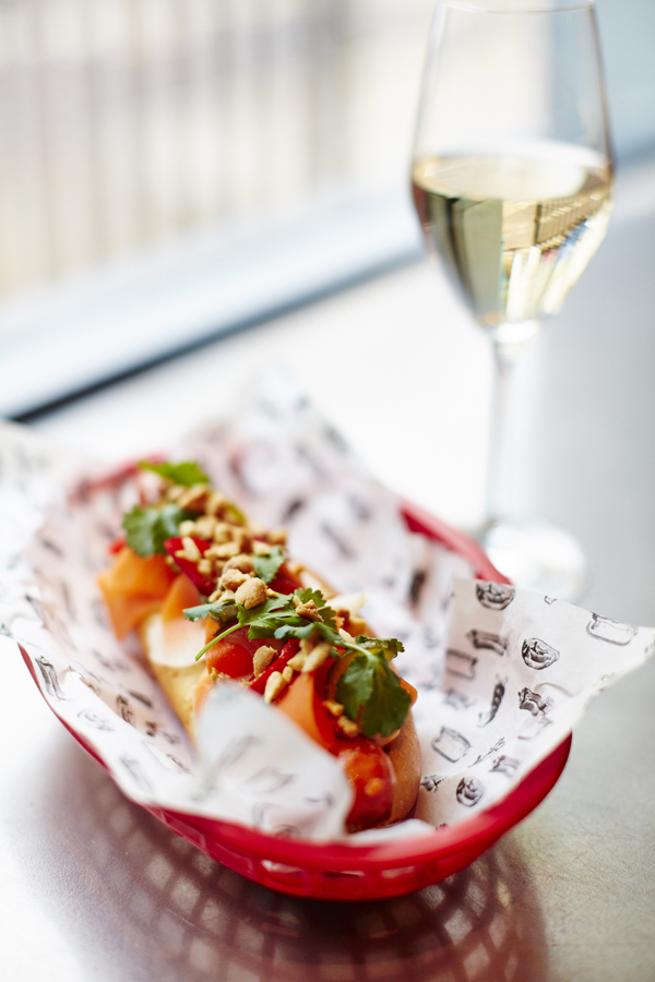 Hot dog and champagne 1 low res