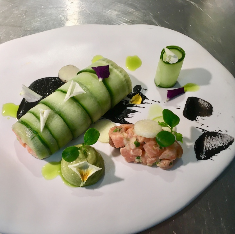 Pickled Cucumber and Salmon Roulade with Black garlic and Granny Smith apple by Christos Siomadis