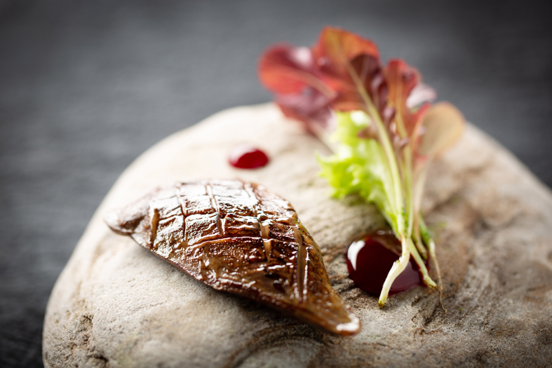 Barbeque pigeon breast beetroot young leaves low res