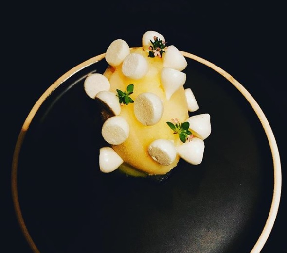 """Lemon Meringue Pie""   the addition of violet & thyme makes this a truly special dessert."