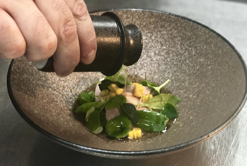slow cooked rabbit, grilled corn broth and Seaham herbs, Seaham Hall