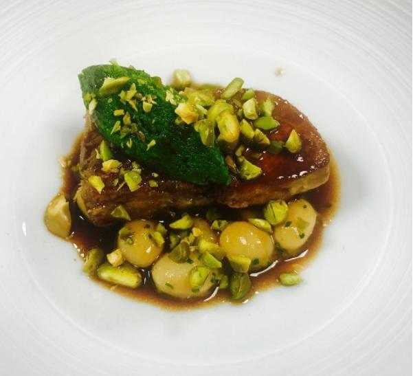 Confit duck leg, jeruselam artichoke and coco bean pistachio pesto