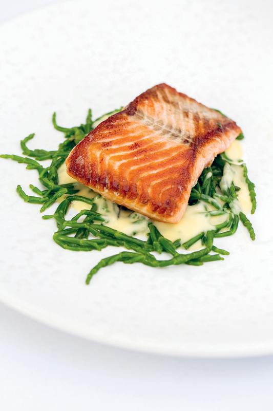 Galton Blackiston's fillet of sea trout with samphire & beurre blanc, once on the menu at one Michelin star Morston Hall