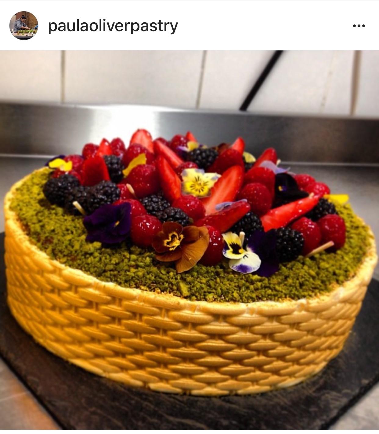 Pistachio and  chocolate 'fruit basket' cake