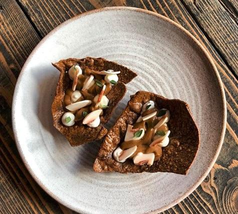Cep crackers, mushroom caramel, sour cream and thyme