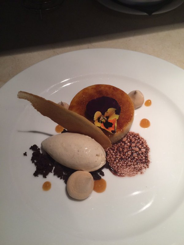 Spiced pumpkin brûlée, cinnamon  ice cream with   muscavado meringue