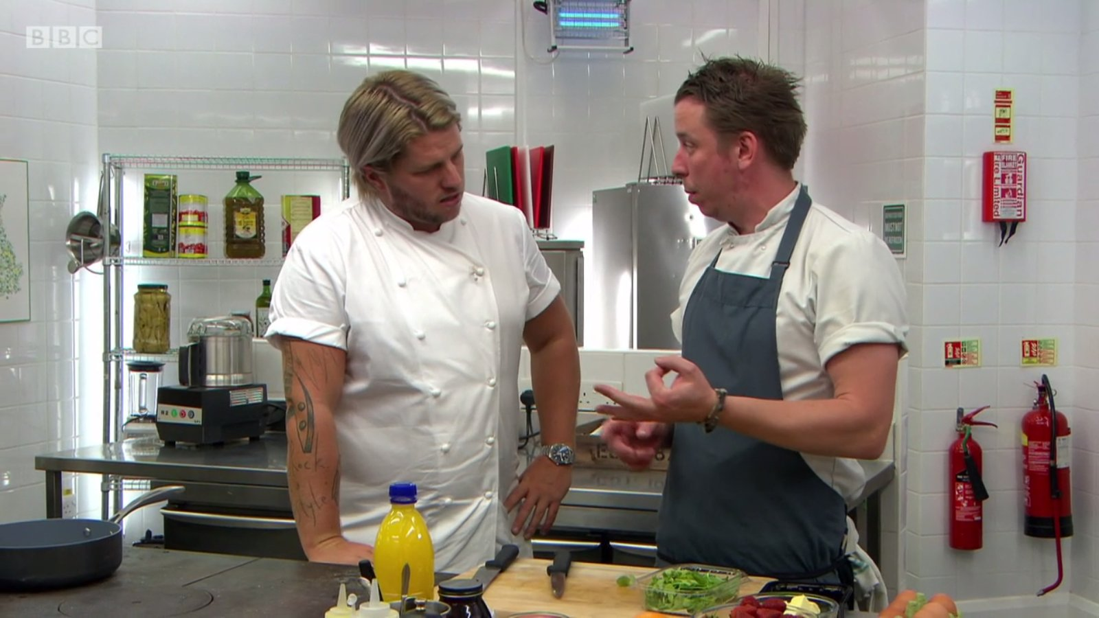 Andy Clatworthy and judge Michael O'Hare, Great British Menu 2017