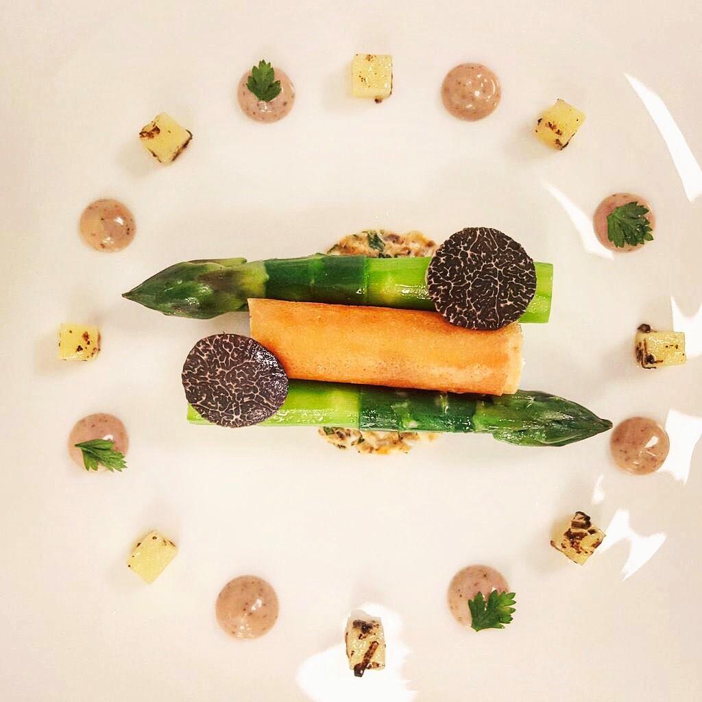 Asparagus, potato mousse, truffle, potato vinaigrette by chef Dean Westcar, Restaurant Hywel Jones at Lucknam Park