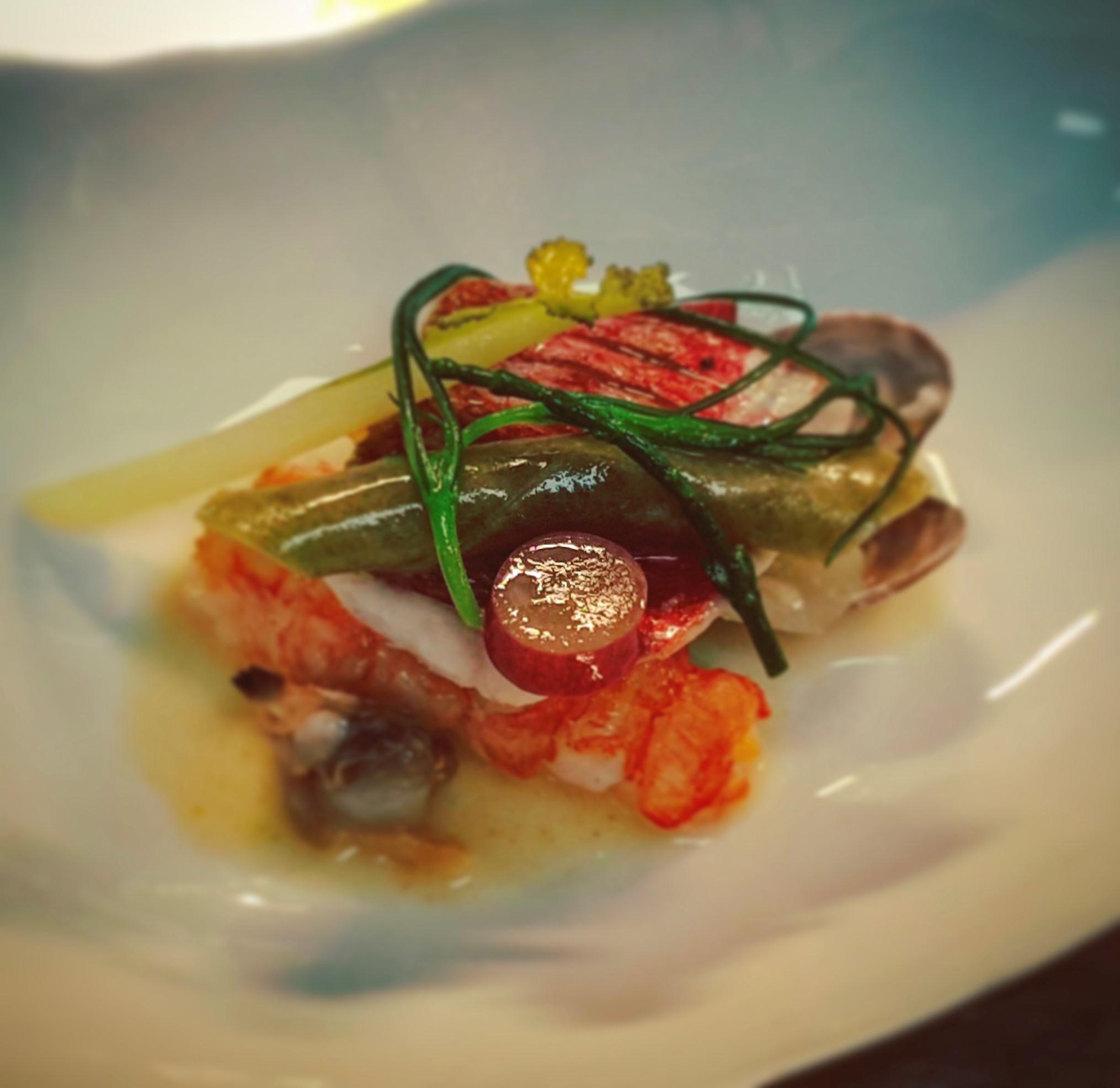 Grilled red mullet, sea vegetable, shellfish, verjus butter by chef Dean Westcar, Restaurant Hywel Jones by Lucknam Park