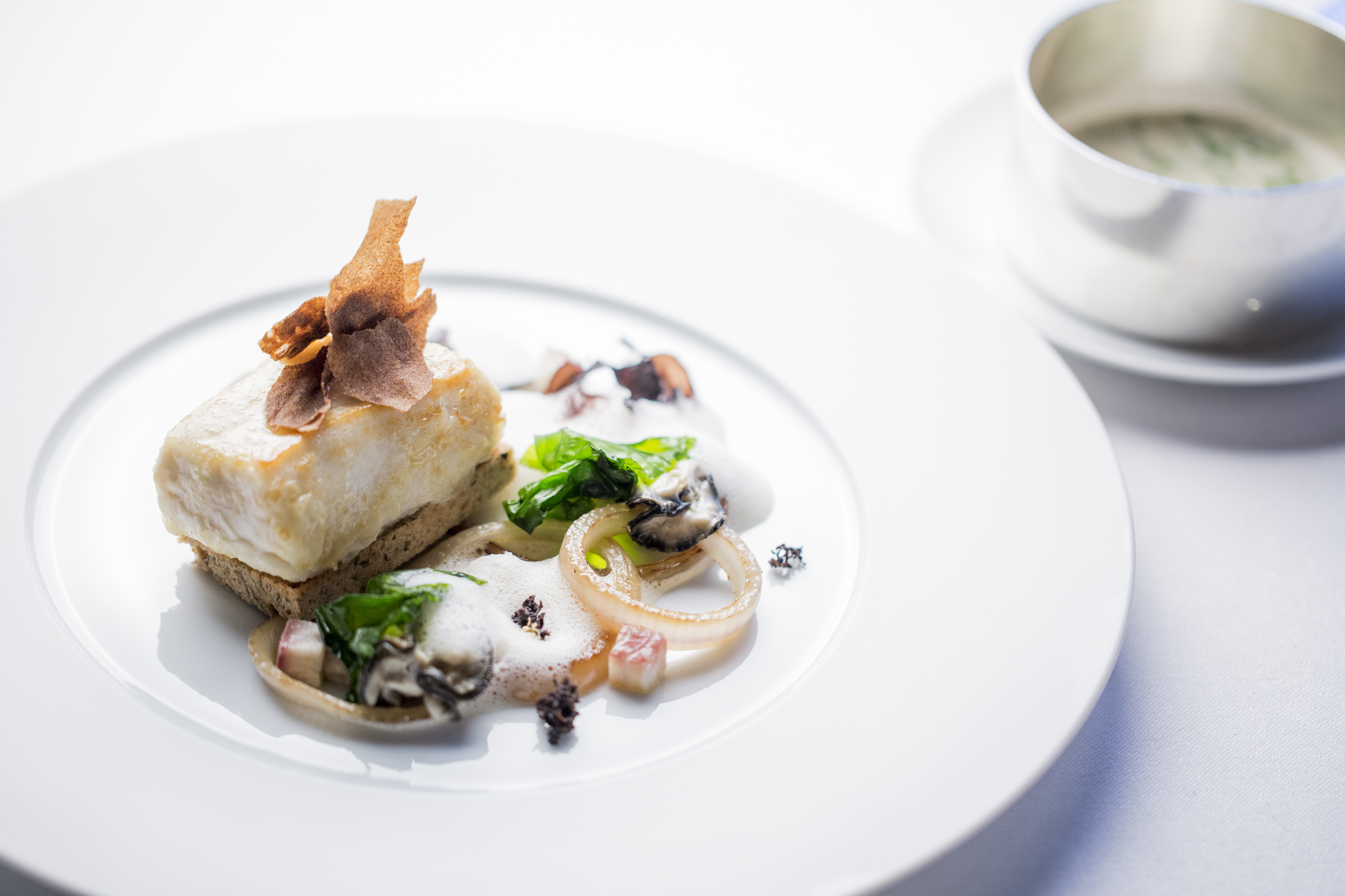 Halibut, oyster & seaweed by Jean-Philippe Blondet, executive chef at Alain Ducasse at The Dorchester ®pmonetta 7393