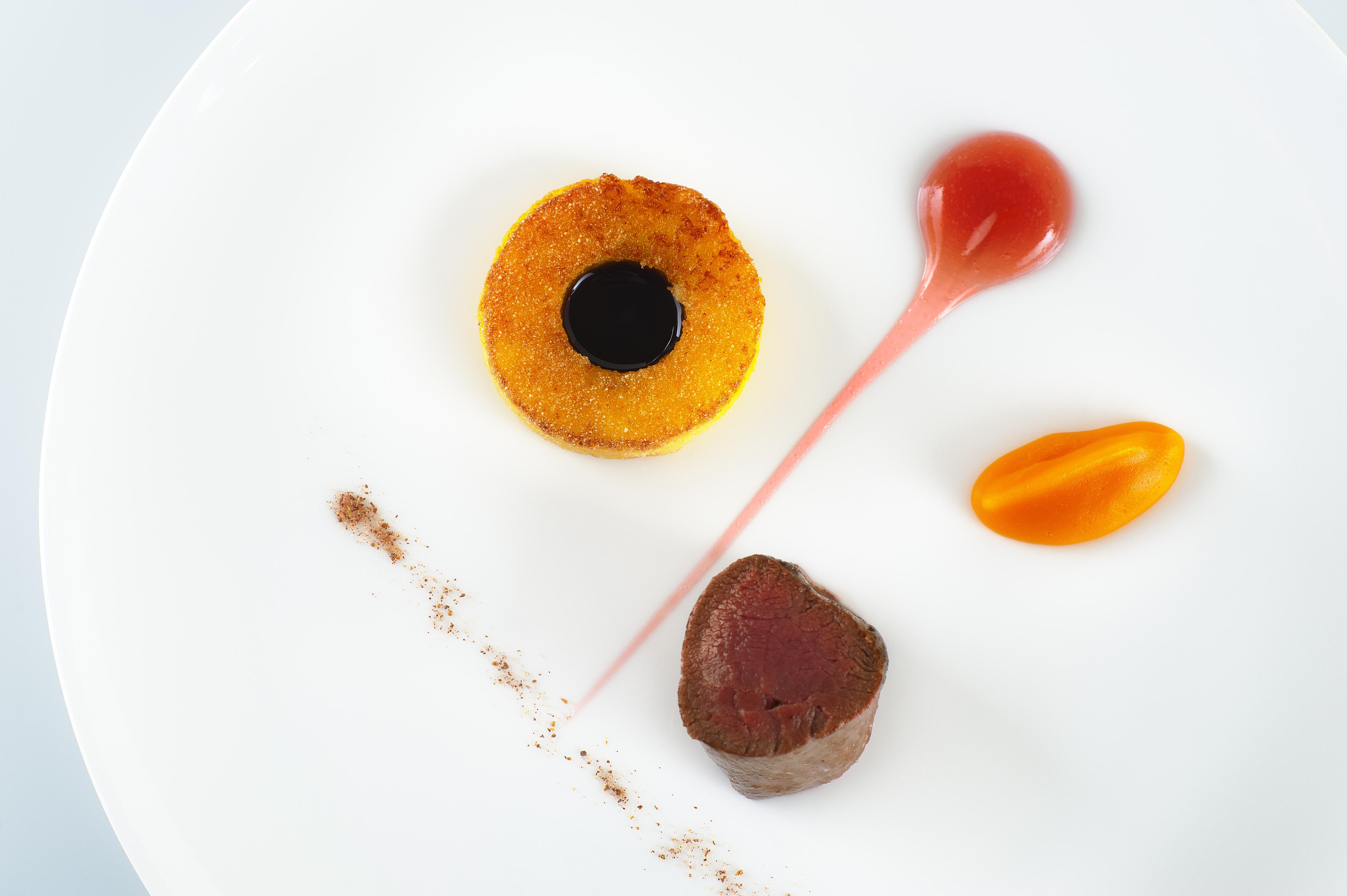 Spiced Roast Loin of roe deer, crispy polenta and a damson gel by Lorna McNee, Restaurant Andrew Fairlie