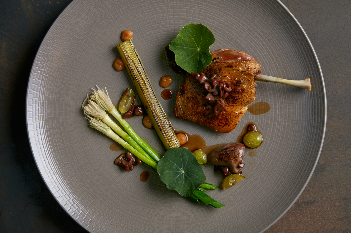 Creedy carver duck leg with charred leek and gooseberry by Sam Ashton Booth, head chef at Stem  copy 1