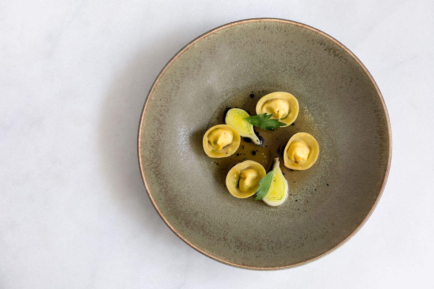 Smoked Chicken Tortellini leek hearts cooked in truffle butter by Sam Ashton-Booth, head chef at Stem Restaurant Credit Jade Nina Sarkhel 18