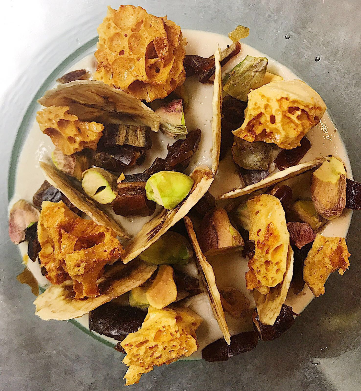 Banana custard with dates, honeycomb and pistachios   Tom De Keyser, head chef, The Coach