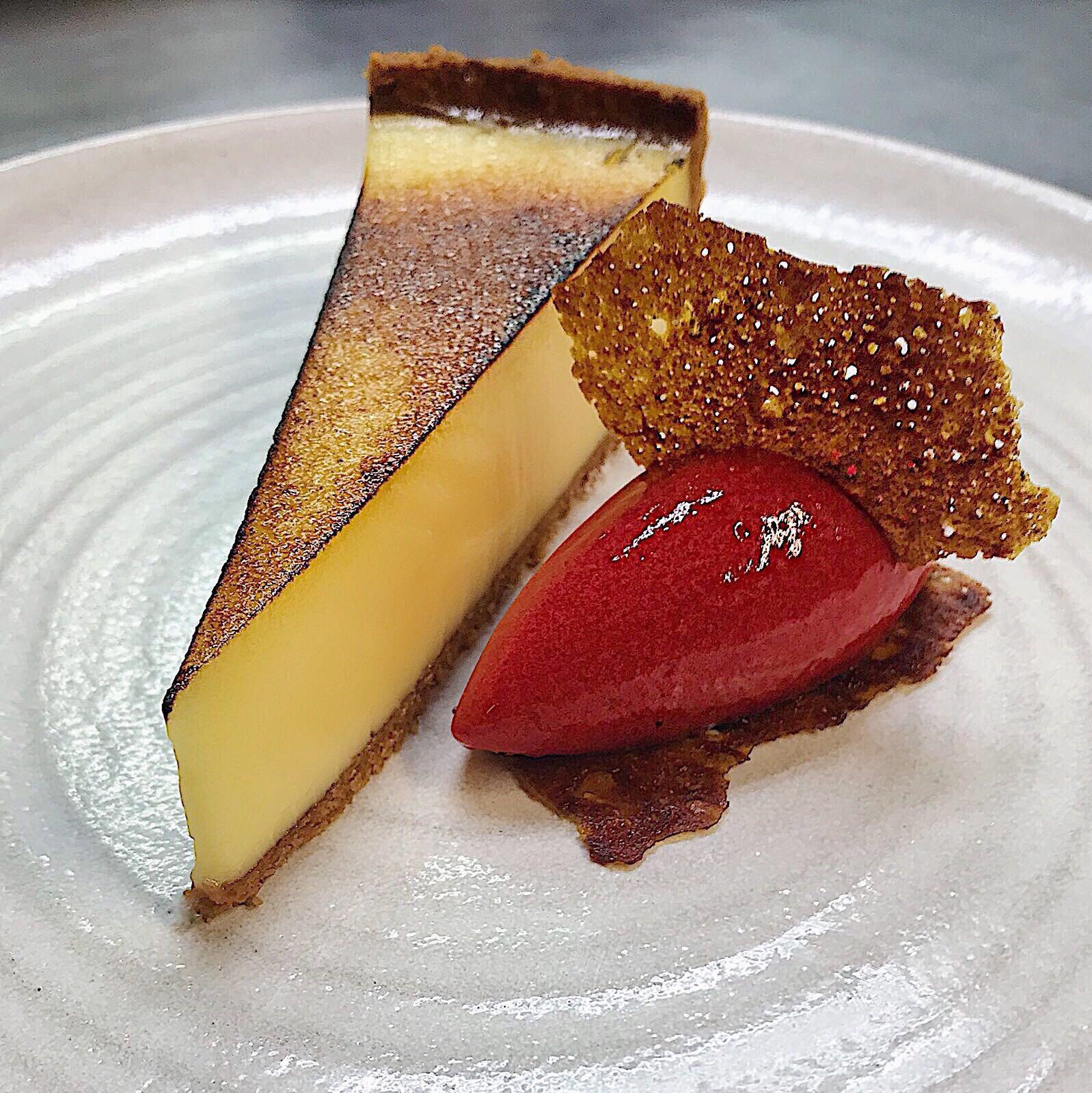 Lemon tart with raspberry sorbet   Tom De Keyser%2C The Coach
