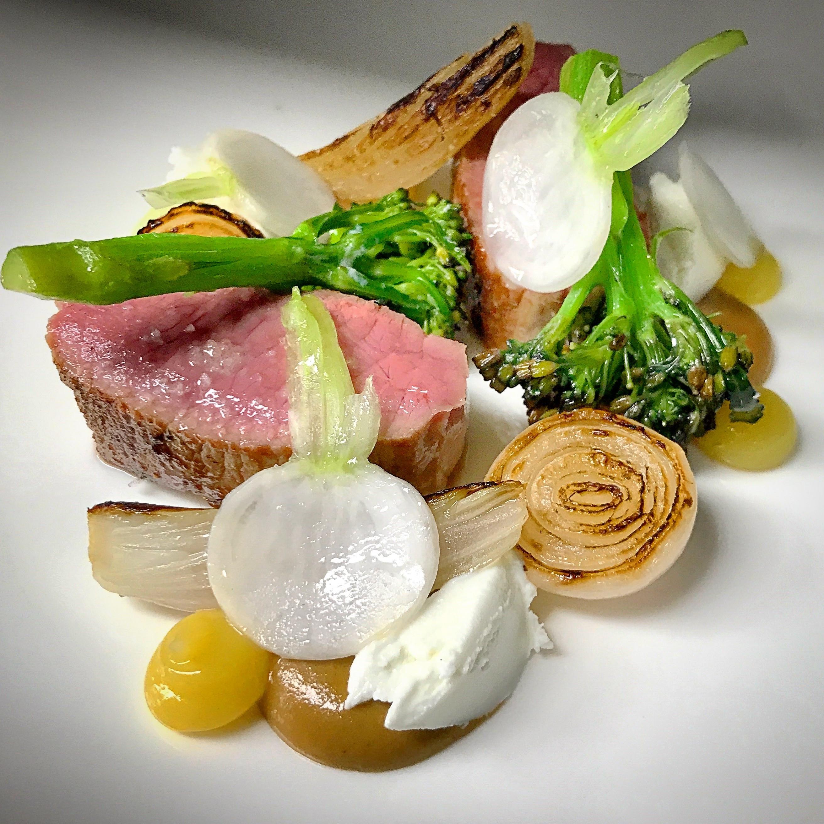 Herdwick Lamb, confit lemon, goats curd and onions by Tom Shepherd, head chef at Adam's Restaurant, Birmingham