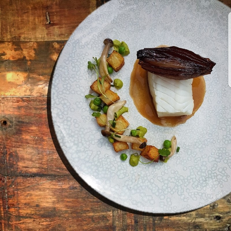 Confit halibut, chicken butter sauce, braised shallot, peas, mushroom & potato by chef Spencer Hewitt,  chefs to follow on Instagram, food pics, social media, The Staff Canteen, Instagram Top Ten
