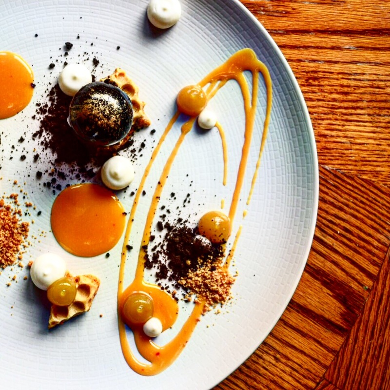 Glazed pop cake, honeycomb, buttermilk, orange & chocolate crumble, white chocolate & orange sauce by chef Chris Bond, chefs to follow on Instagram, food pics, social media, The Staff Canteen, Instagram Top Ten