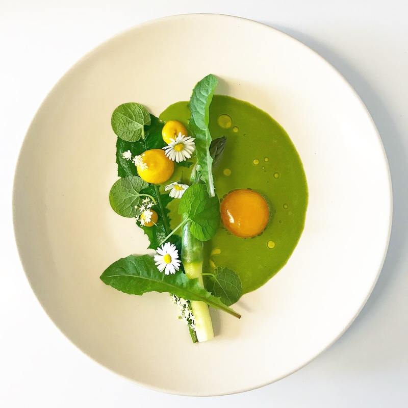 Asparagus, cured egg yolk and wild spring salad by chef Glenn Barnes, chefs to follow on Instagram, food pics, social media, The Staff Canteen, Instagram Top Ten