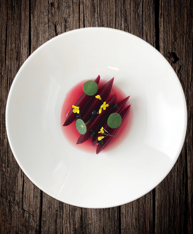 Salt baked beetroot, blackcurrants, beetroot & blackcurrant consommé by chef Sean Kelly, chefs to follow on Instagram, food pics, social media, The Staff Canteen, Instagram Top Ten