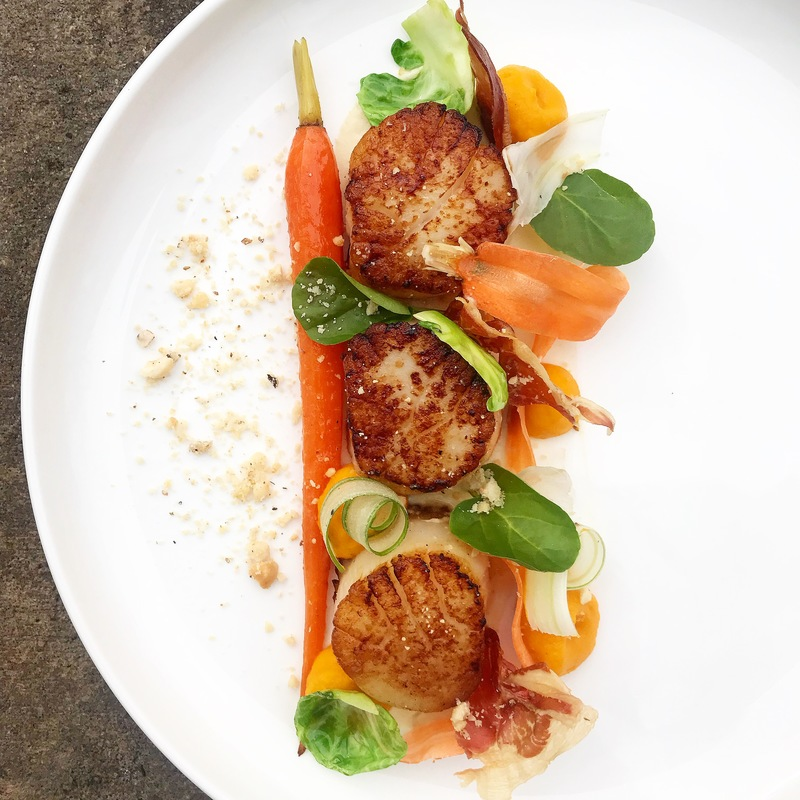 Scallops, confit carrot, parsnip purée, praline, guancialie by chef Ryne Harwick, chefs to follow on Instagram, food pics, social media, The Staff Canteen, Instagram Top Ten