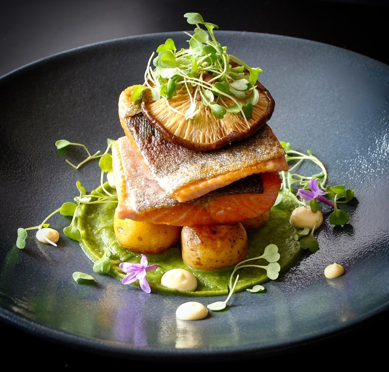 Trout with rosti creole potatoes flavored with garlic, pea and basil puree by chef Carlos Alvarez, chefs to follow on Instagram, food pics, social media, The Staff Canteen, Instagram Top Ten