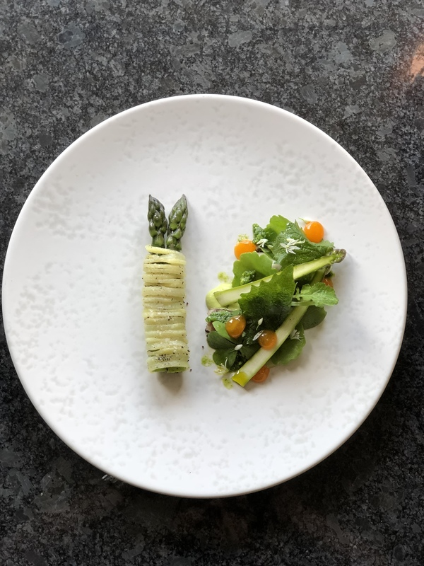 Yorkshire asparagus, pea, Wild garlic, foraged salad, egg yolk by chef Michael Carr, chefs to follow on Instagram, food pics, social media, The Staff Canteen, Instagram Top Ten