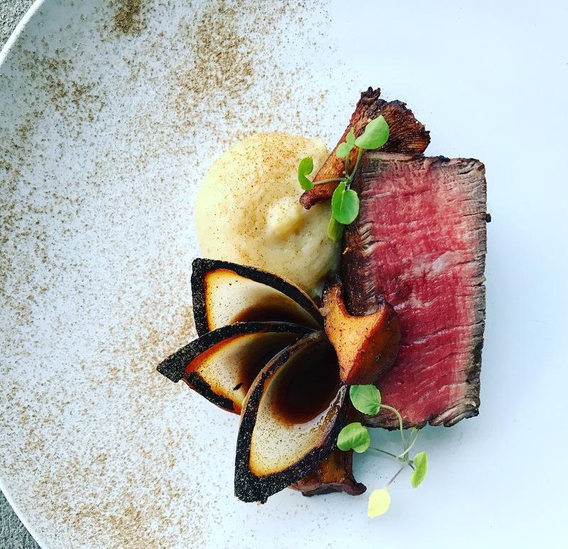 Filet, Yukon and white truffle purée, onion brûlée, chanterelles, Demi, porcini dust by chef Ryne Harwick, food pics, top chefs to follow on Instagram