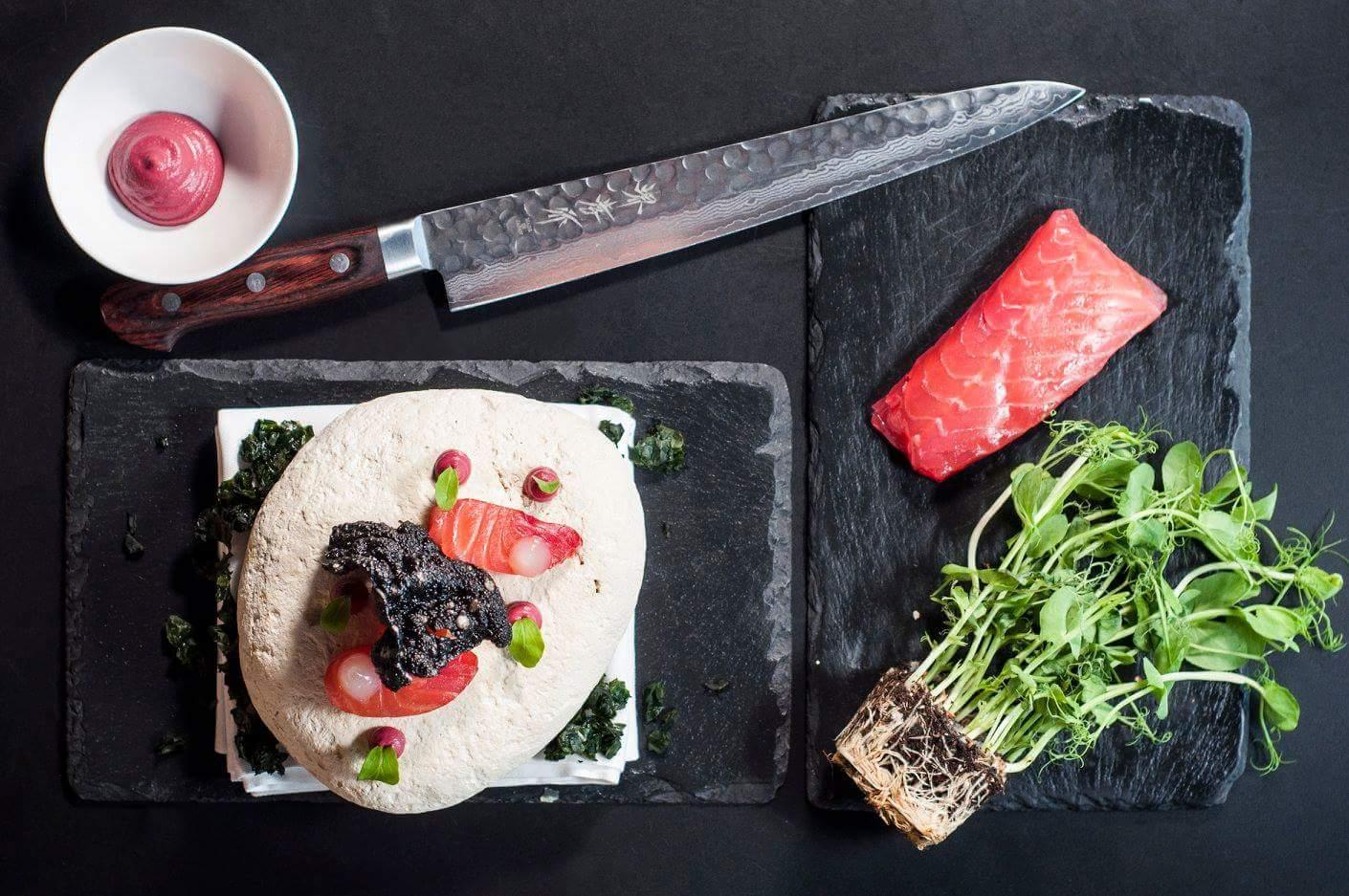 Beetroot cured salmon, yuzu, tapioca by chef James Oakley, Alibi restaurant in Hong Kong